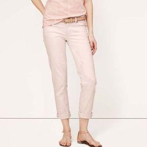 LOFT Denim Cuff Crochet Pants in Blush/Mauve 0P
